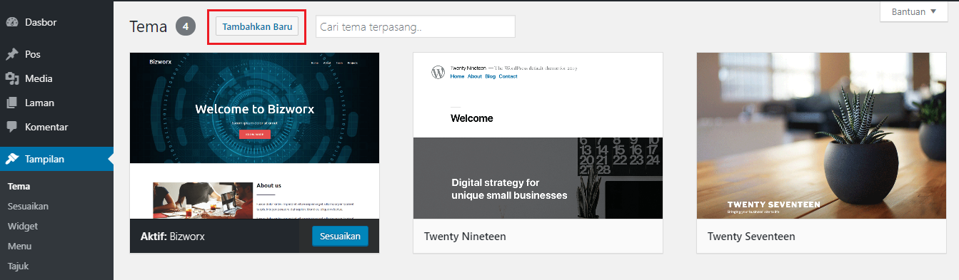 tampilan wordpress